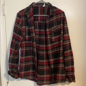 Black red gold flannel